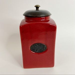 Pier 1   Rustic Cranberry Scroll Inlay Coffee Canister Wood Lid